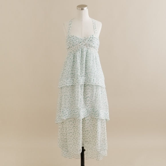 J. Crew Dresses & Skirts - J.CREW Tiered Floral Trellis Silk Midi Dress